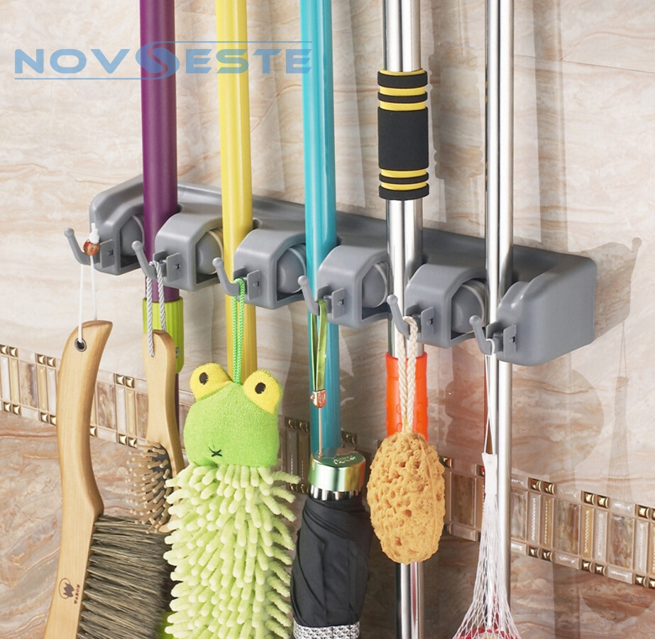 5 slots mop organisator halter aufh nger rack haken besen wand befestigter ebay. Black Bedroom Furniture Sets. Home Design Ideas
