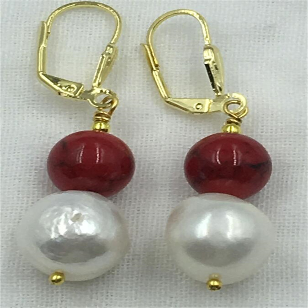 Real énorme 13X20MM South Sea Blanc Baroque Pearl Earring