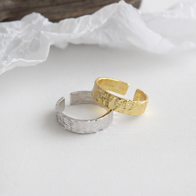 Solid 925 Silver Hammered Irregular Surface Wide Statement Rings for Women Gift