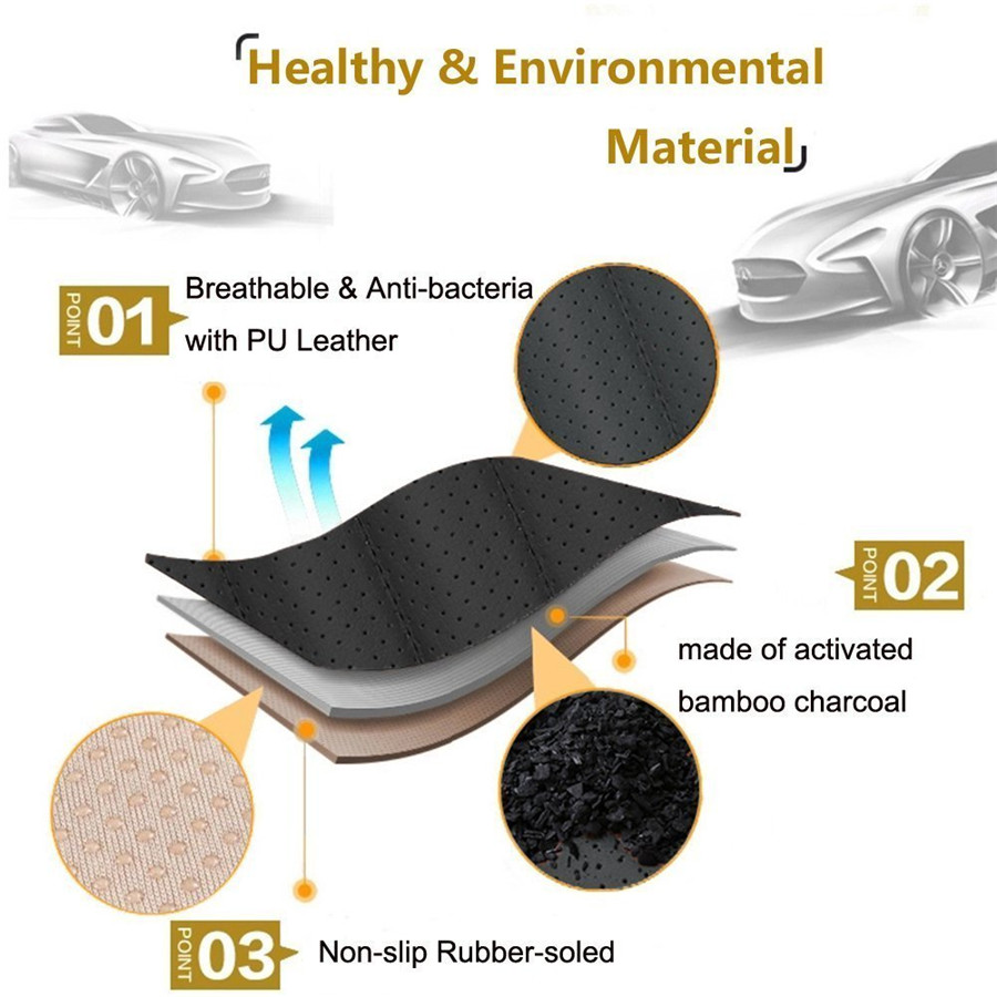 a18268a79a 3Pc Bamboo Charcoal PU Leather Car Seat Cover Cushion Front+Rear Mat ...