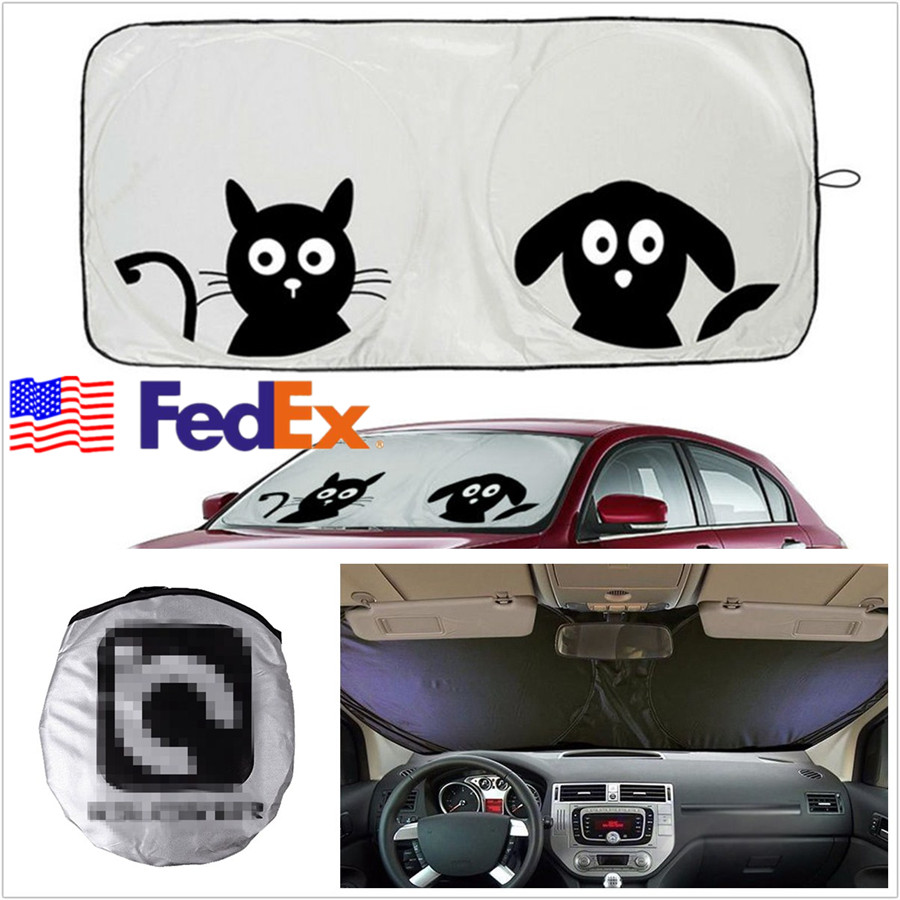 Cartoon Pattern Autos Front Windshield Sunshade Sun Visor Block Cover Usa Stock Ebay