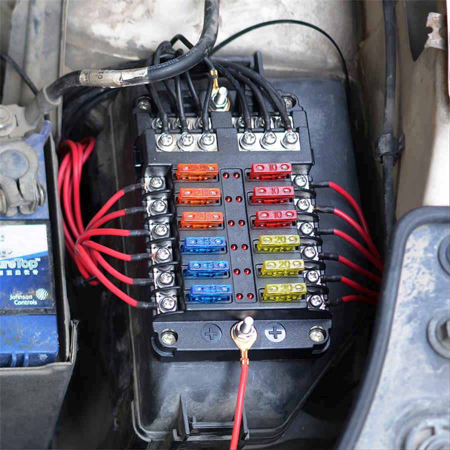 12 Way Car Auto Boat Marine Bus UTV Blade Fuse Box Block Cover LED  Indicators | eBayeBay