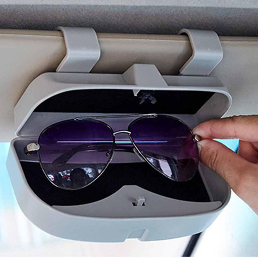 Grey Car Auto Interior Roof Sunglasses Holder Storage Clip Case Holder Stand Box