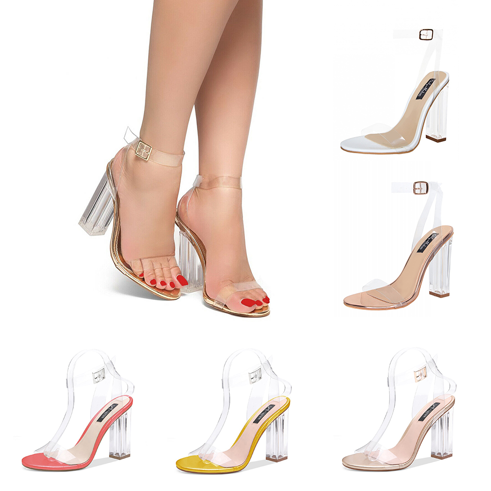 46071228f4b Onlymaker Women's Lucite Clear Ankle Strap Sandals Perspex Block ...