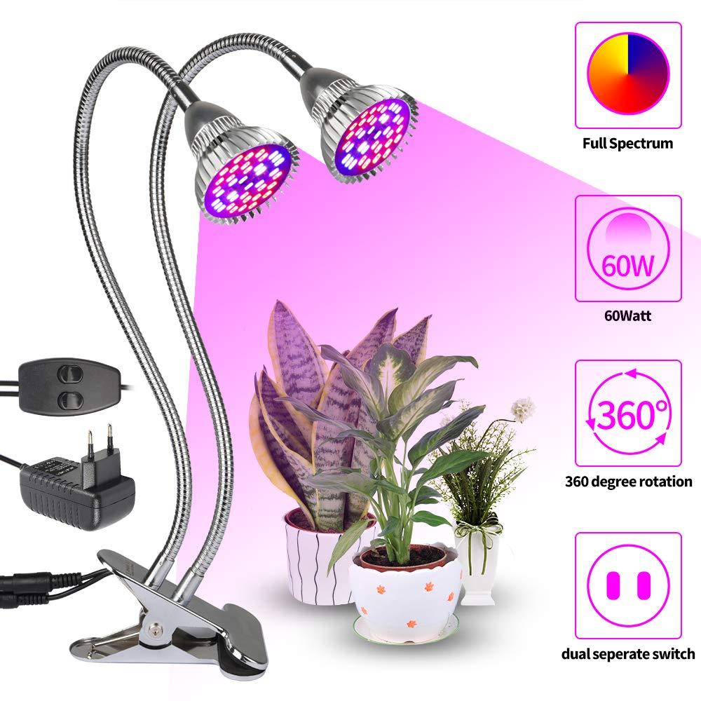60W LED 360°Dual Head Pflanzenlampe Pflanzenlicht Wachstumslampe Zimmerpflanzen