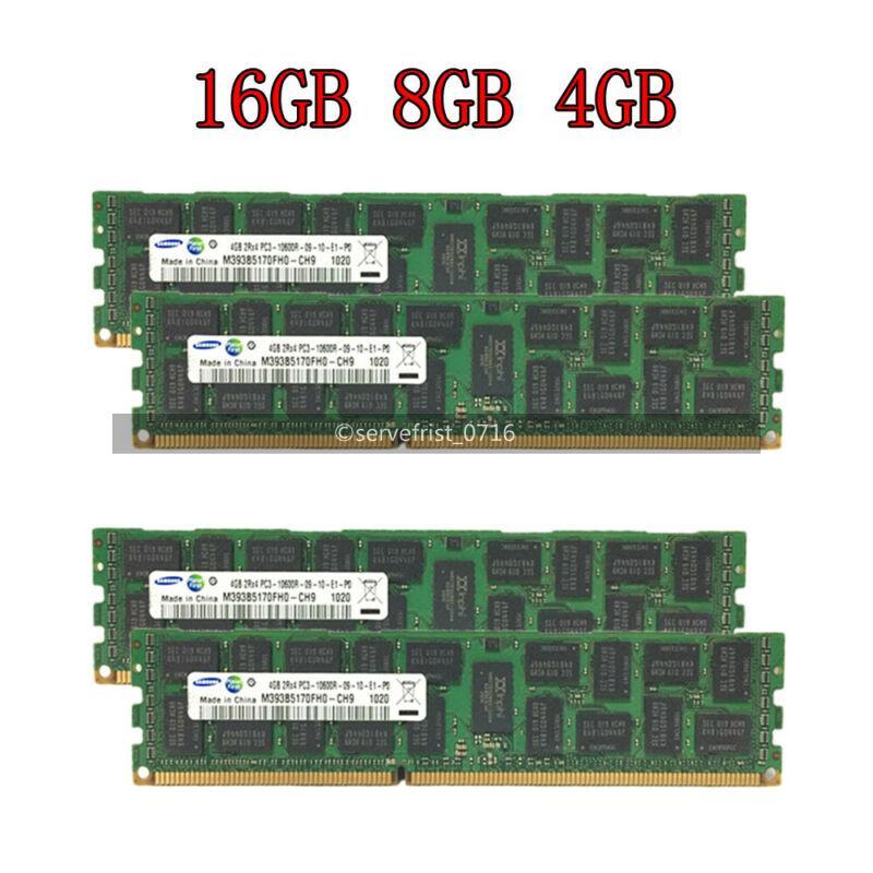 HP Server RAM 16GB 4x 4GB PC3-10600R ECC REG DDR3 1333MHz 1Rx4 RDIMM Memory LOT
