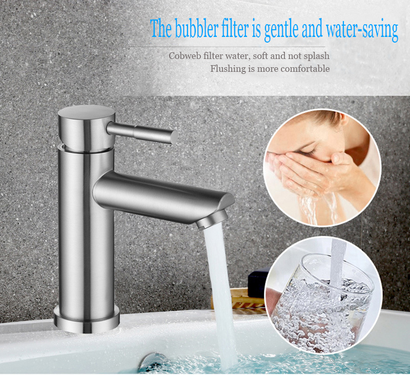 Kitchen Bathroom Brushed Basin Sink Faucet Stainless Steel Mixer Tap Single Hole