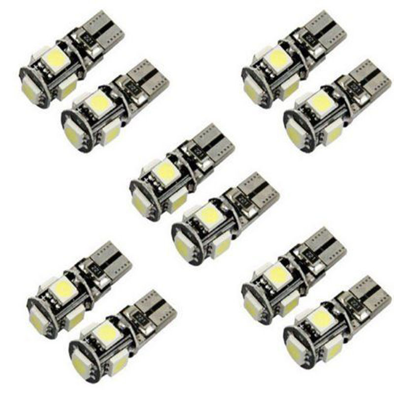 20x Veilleuses LED W5W T10 Canbus ANTI ERREUR ODB 6000k XENON 5SMD Voiture 6500K