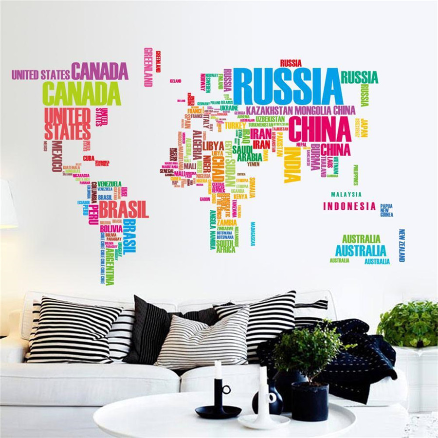 World Map Letter Quote Removable Vinyl Decal Art Mural Wall Stickers
