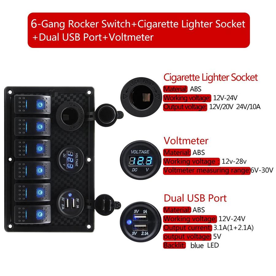 Car 6 Way Enclosed Rocker Switch Voltmeter Cigarette Lighte Carbon 12 Volt Toggle Wiring Diagram Further Freightliner 2010 Fiber Surface