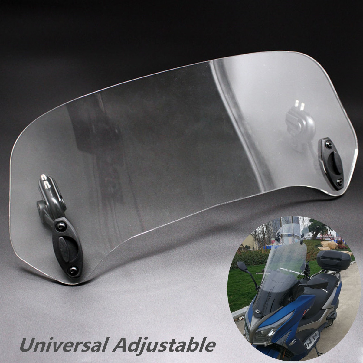 Motorcycle Windshields Universal Motorcycle Adjustable Windscreen Wind Deflector Scooter ATV Windshield Extension f