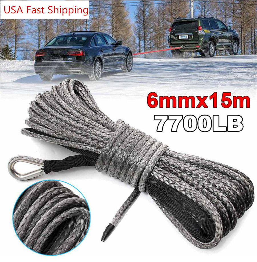3//16/'/' x50/' 7700//7000LBS Synthetic Winch Line Cable Rope with Sheath Bule Gray