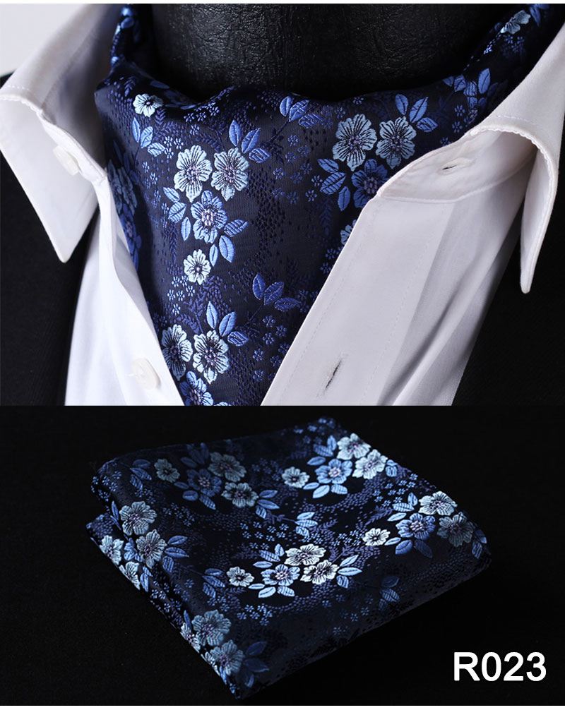 Floral Paisley Men Silk Cravat Ascot Tie Handkerchief Set #RF2