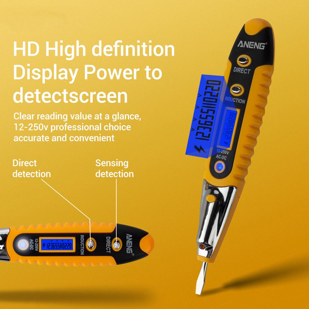 12V-250V AC DC Digital Electrical Tester Pen Voltage Inductance Detector Ws