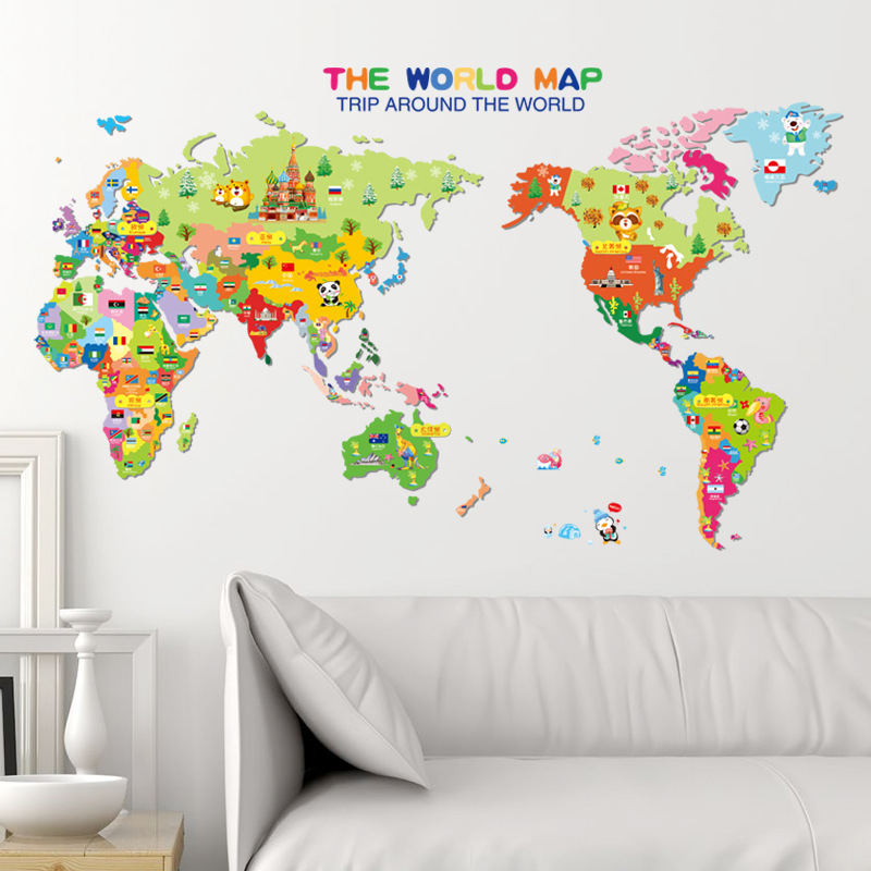 Wall stickers decals kids play room world map home art decor non toxic environmental protection waterproof diy facilitate easier richer color pattern just peel and stick gumiabroncs Image collections