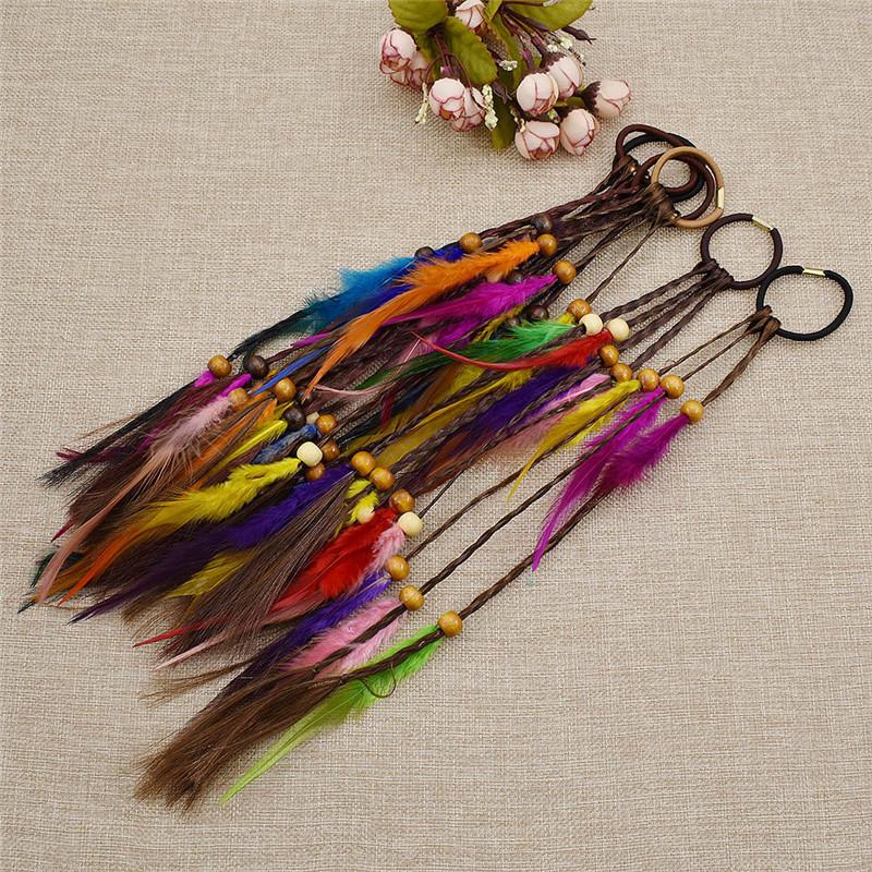 1x DIY Hair Jewelry Feather Hair Extension Boho Hair Dreadlock Braid Beads A8Y6