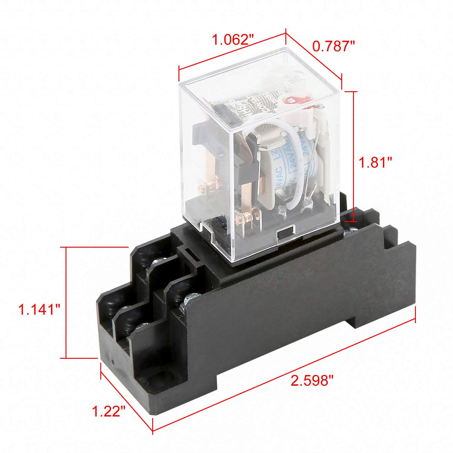 Socket Base 3 Pieces AC 220-240V Coil Red LED Indicator Light DPDT Power Relay