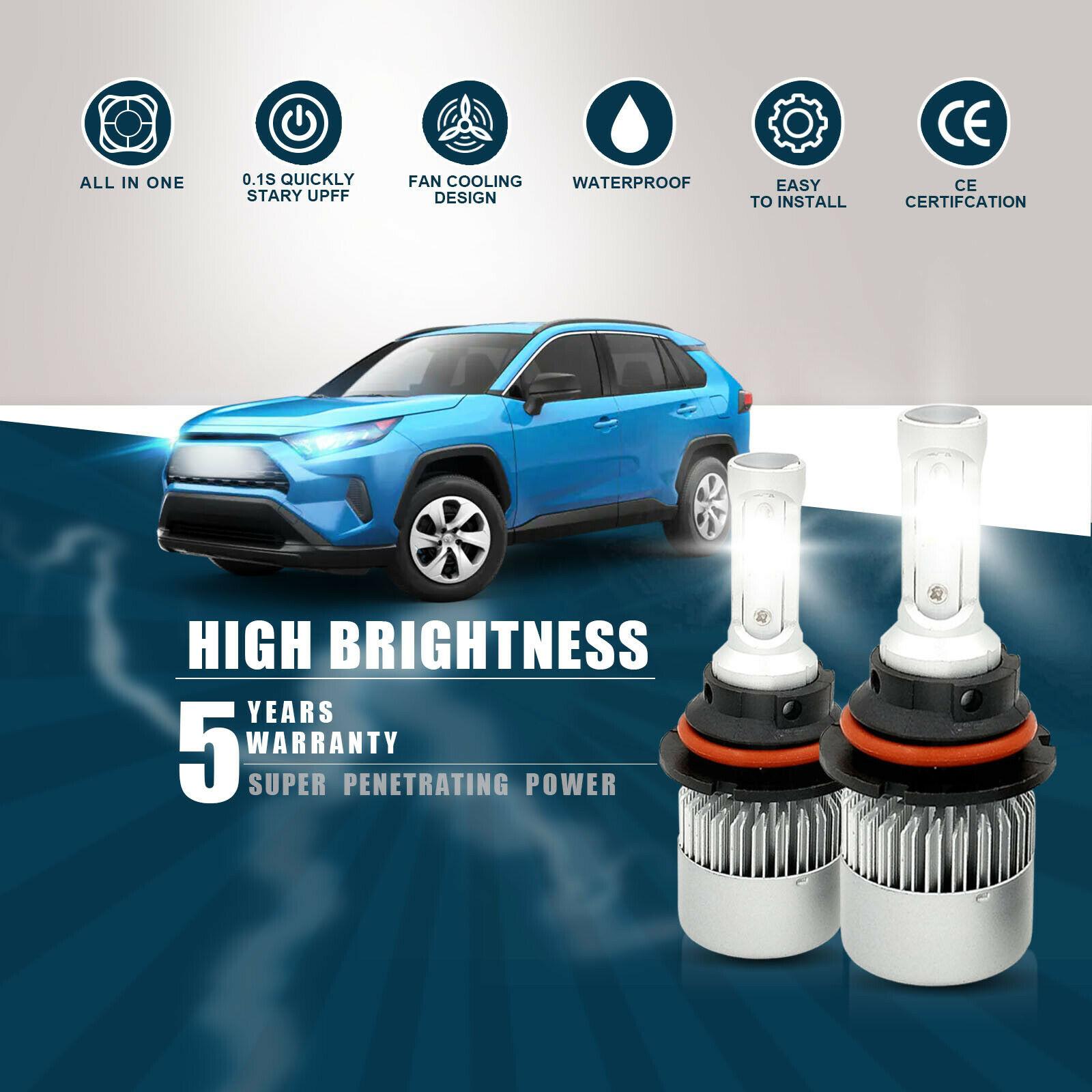 9004 HB1 LED Headlight Bulb Kit High Low Beam Factory 1300W 195000LM 6000K White