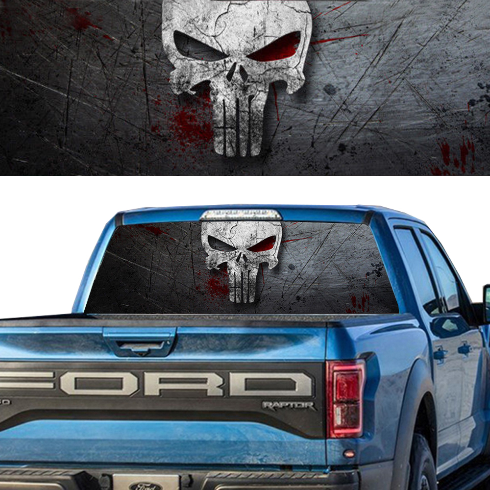 DEER BUCK SKULL PICK-UP TRUCK REAR WINDOW GRAPHIC DECAL PERFORATED VINYL TINT