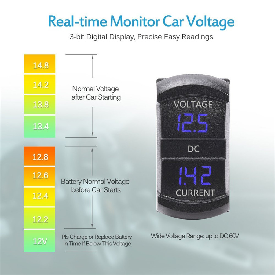 2in1 Digital Led Current Voltage Amp Meter Tester For 12 24v Car 2 In 1 Real Time Monitoring Battery Of Vehicles Remind You Charge Or Replacement Better Avoid Emergent Dead At
