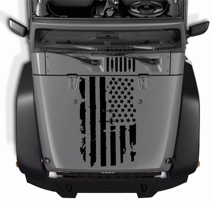 51 x 90CM  Universal USA Flag Hood Car Truck Window Sticker For Jeep Wrangler