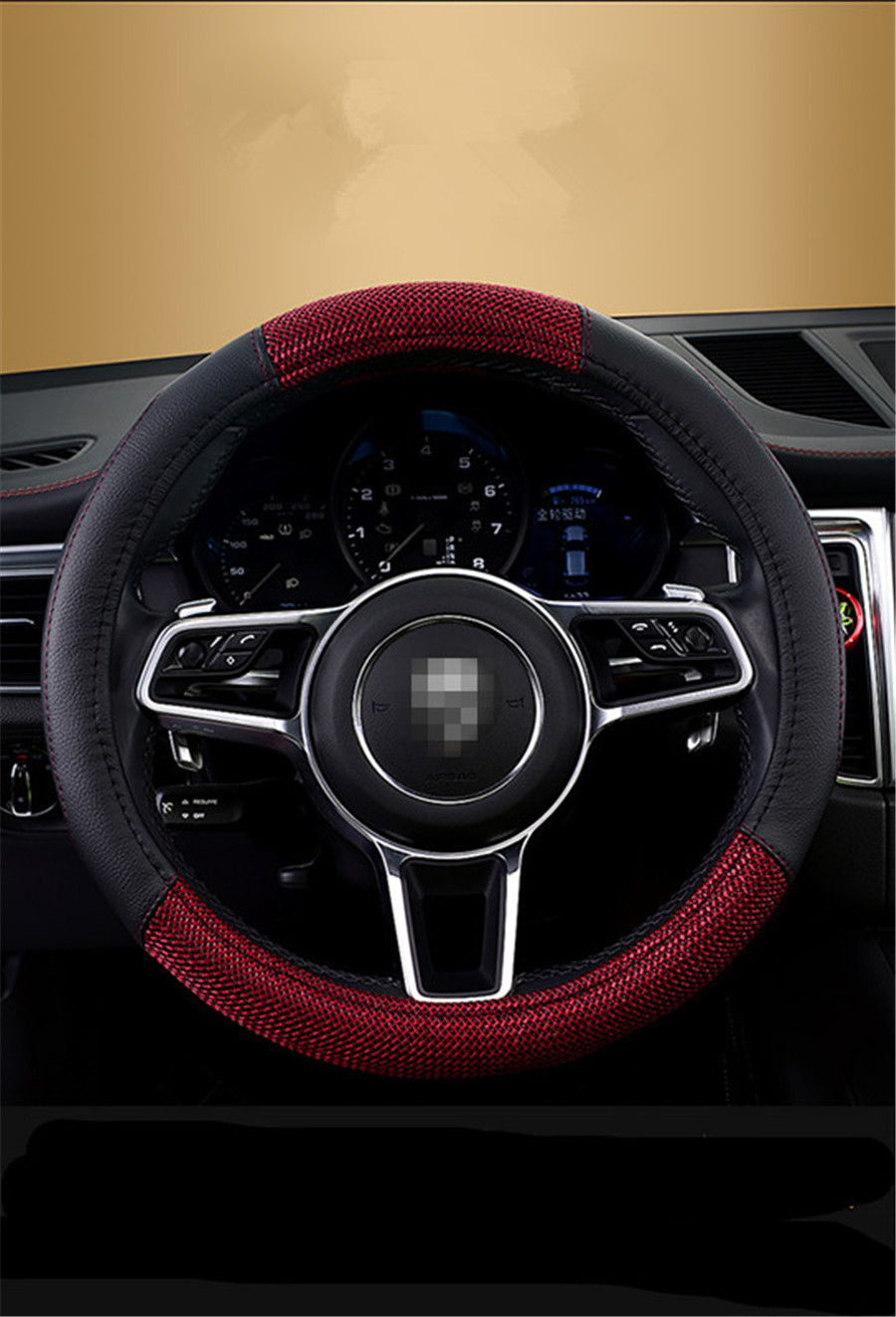 UNIVERSAL FORD FAUX LEATHER LOOK RED STEERING WHEEL COVER