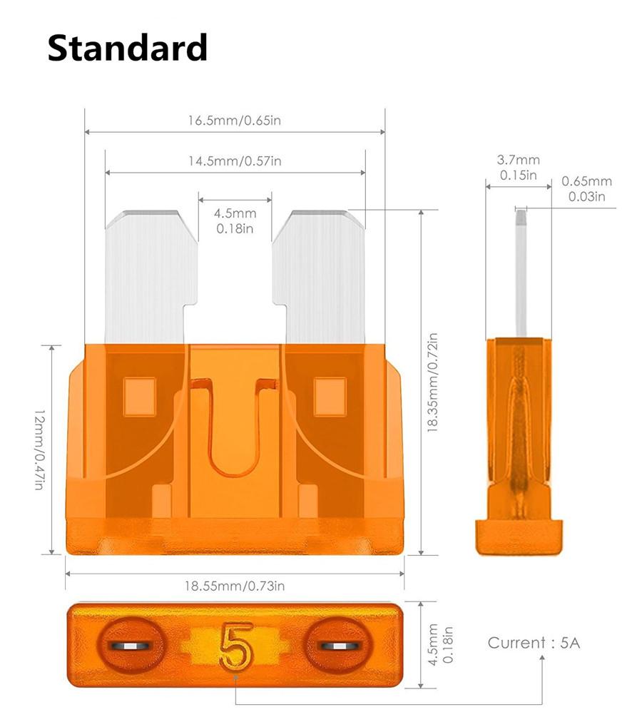 110X Mini ATO Sicherungen Sortiment KFZ Auto-Sicherungen 19mm 11mm 2-35 AMP