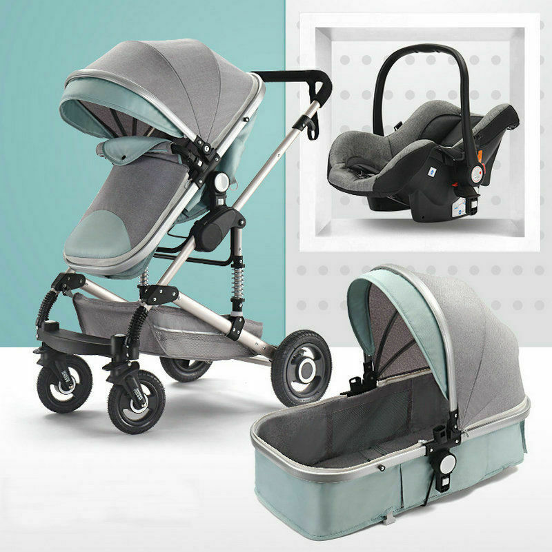 f2343d892499 3 in 1 NeW Bassinet&Car Seat Baby Stroller High View Pram Foldable ...