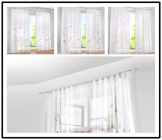 gardinen vorh nge schlaufenschal deko gardinen gardinen stores wei transparent ebay. Black Bedroom Furniture Sets. Home Design Ideas