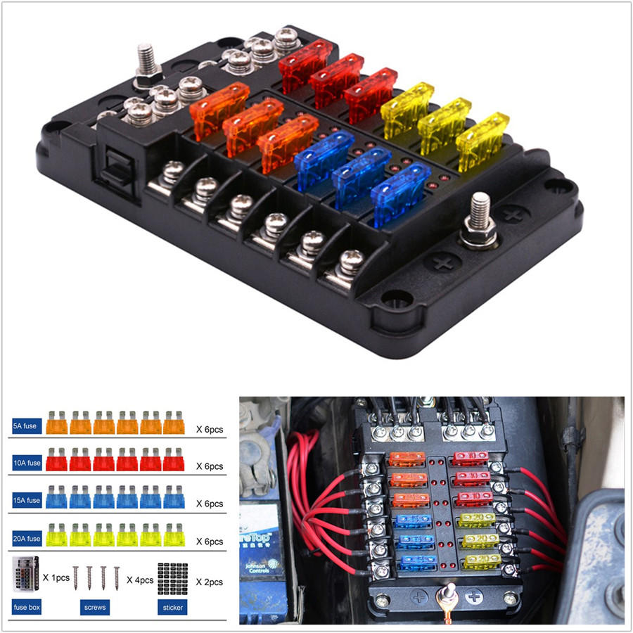 details about 12 way car suv marine boat 12 24v blade fuse holder box 24*fuses 5a 10a 15a 20a 2008 Dodge Charger Fuse List