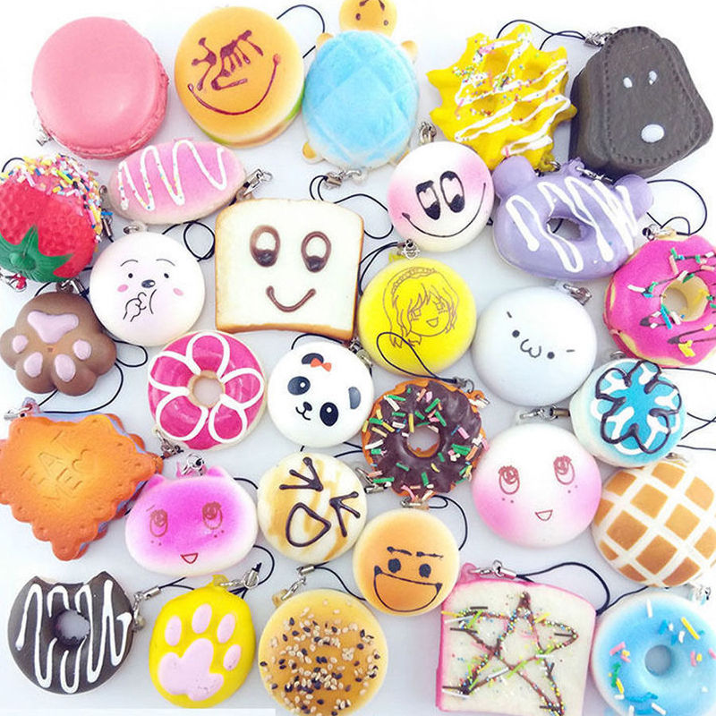 30Pc Squishy Panda/Bread/Cake/Buns Phone Strap Random Kawaii Soft FREE SHIP SALE