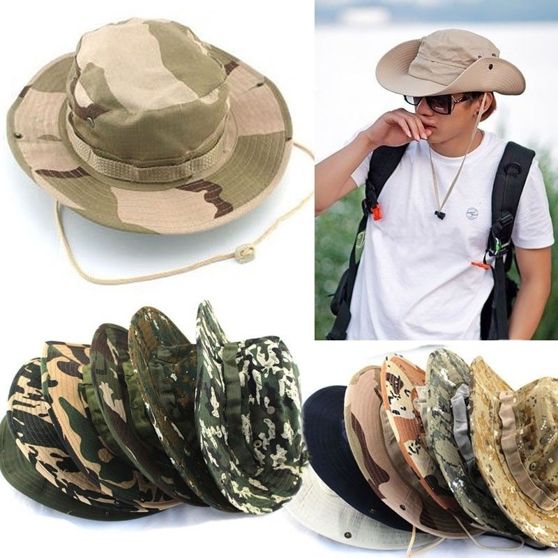 Bucket Hat Fishing New Boonie Camouflage Sun Outdoor Cap Military Hunt Wide Brim