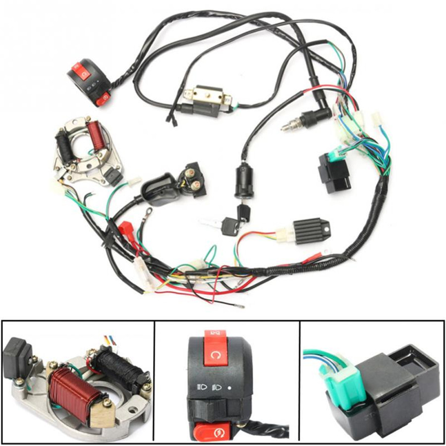 Cdi Wire Harness Stator Assembly Wiring Fit Atv Electric Quad 50 70 Chinese Diagrams In Addition Trailer Lights 90 110 125cc