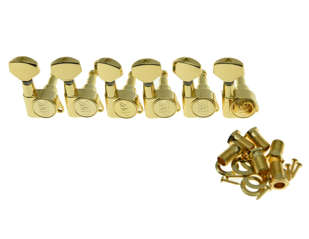 Gold Wilkinson 6-in-line E-Z-LOK Guitar Tuners Machine Heads Tuning Keys Set for Fender Strat//Tele Style Electric Guitar