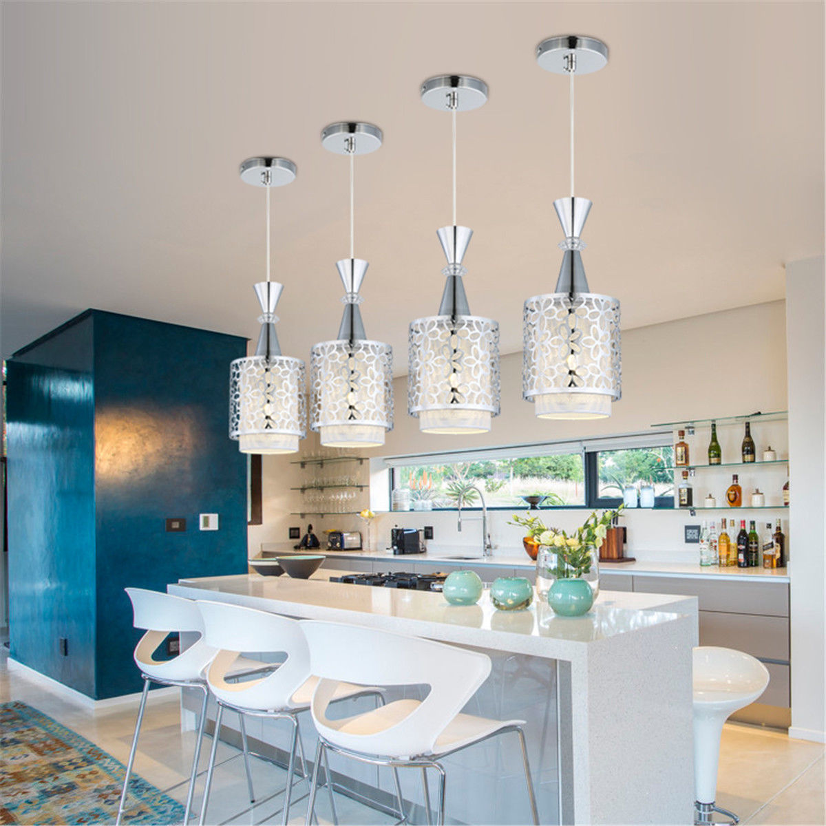 Details about modern crystal iron ceiling light pendant lamp dining room chandelier decor