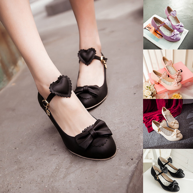 Women/'s Lolita Pumps Sweet Bow Low Chunky Cuban Heel Ankle Straps Shoes Size