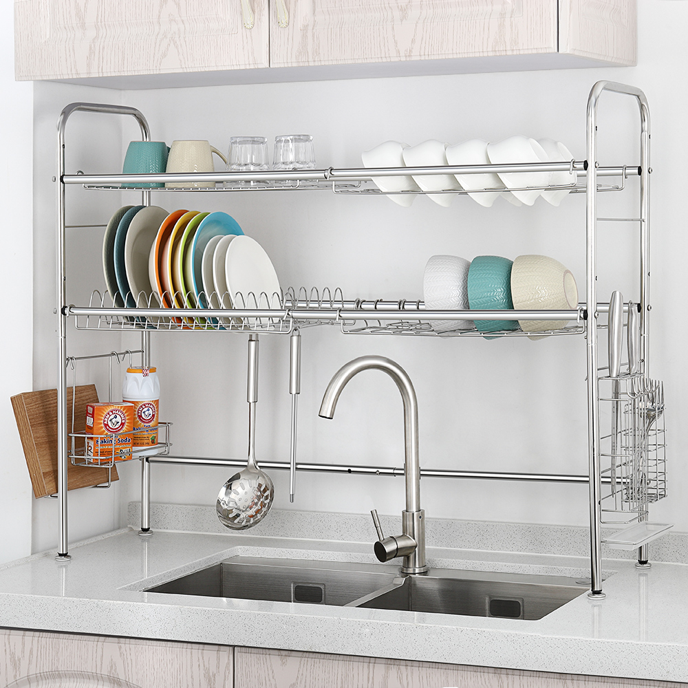 Details About 2 Tier Dish Drainer Rack Stainless Steel Dry Shelf Kitchen  Cutlery Holder