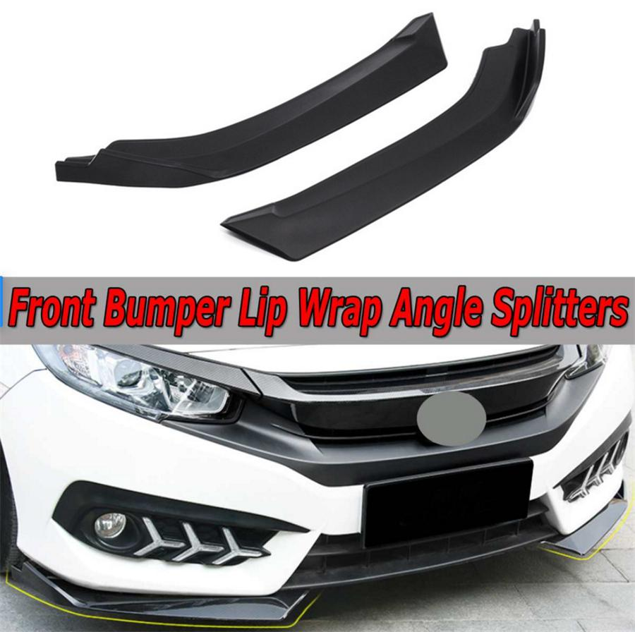 1 Pair Light Weight PP Polypropylene Matte Black Car Front Bumper Lip Wrap Angle Splitters Anti-scratch Spoiler Performance//Custom Compatible with Honda For Civic Sedan 4Dr 2006-up
