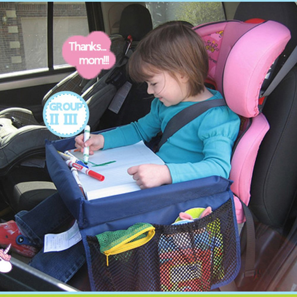 US Baby Safety Travel Tray Drawing Board Table Kids Car Seat Snack Waterproof