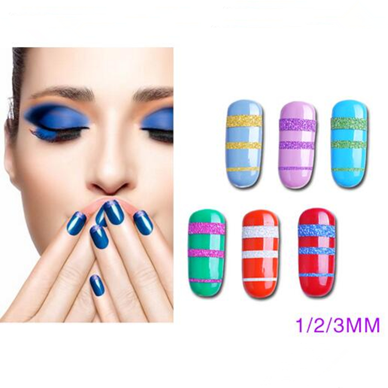 Striping Tape Line Nail Art: 10 Rolls Glitter Nail Art Striping Foils Tape Line DIY