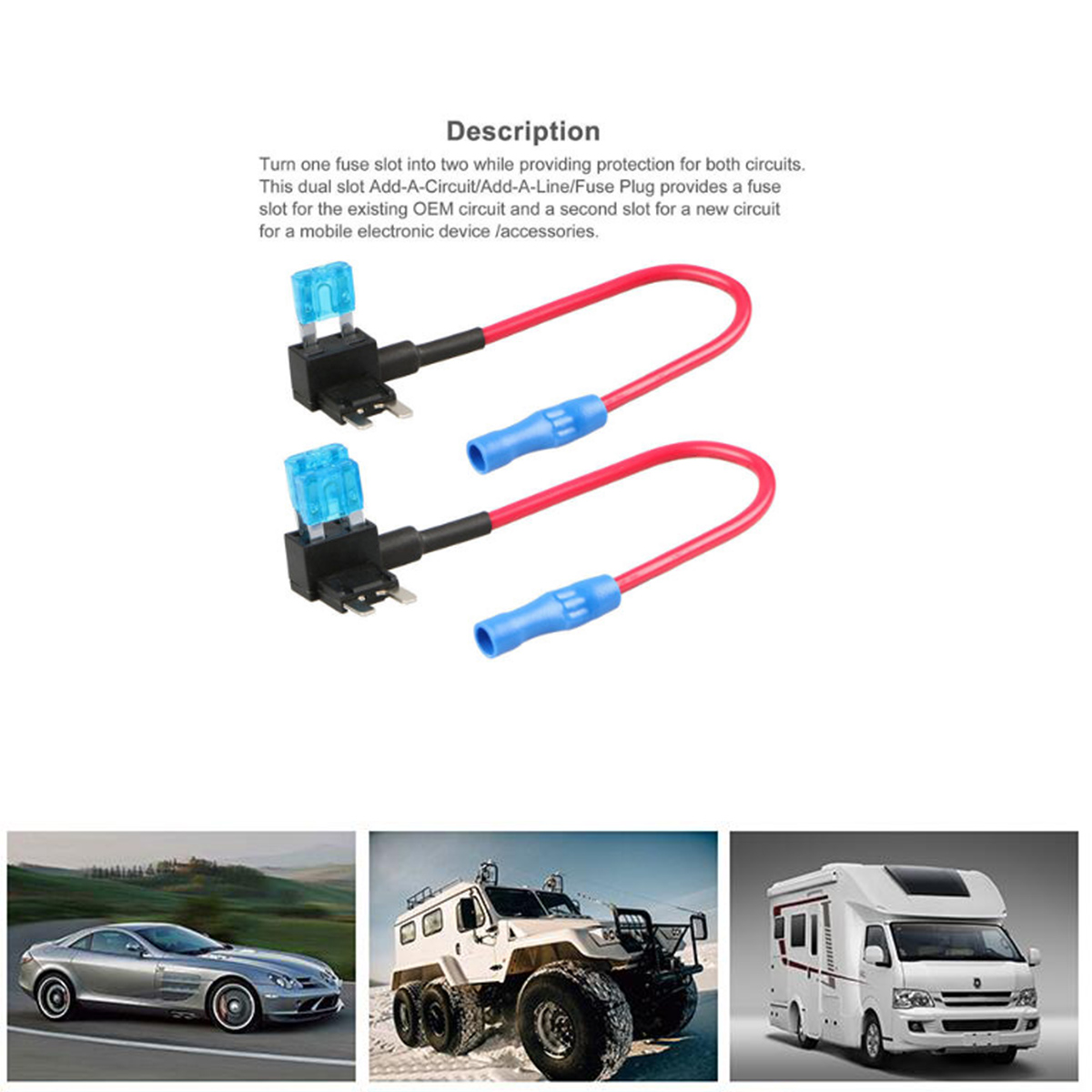 Etopars/™ 10 X Car Vehicle 12V 24V ATM APM Add A Circuit Fuse Tap Piggy Back Mini Fuse Style Blade Holder 15A