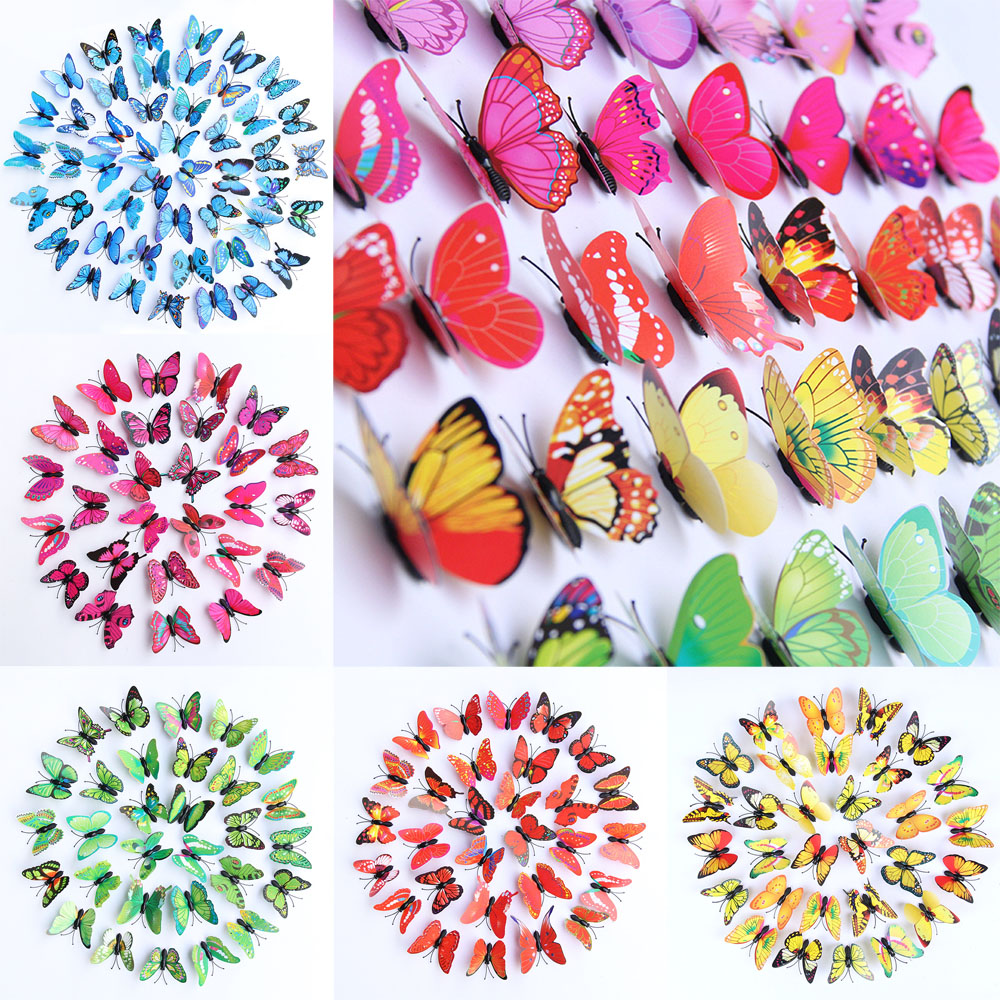 Details about 50pcs 3D Butterfly Stickers Art Design Decal Wall Decals Kids  Home Decor Magnet