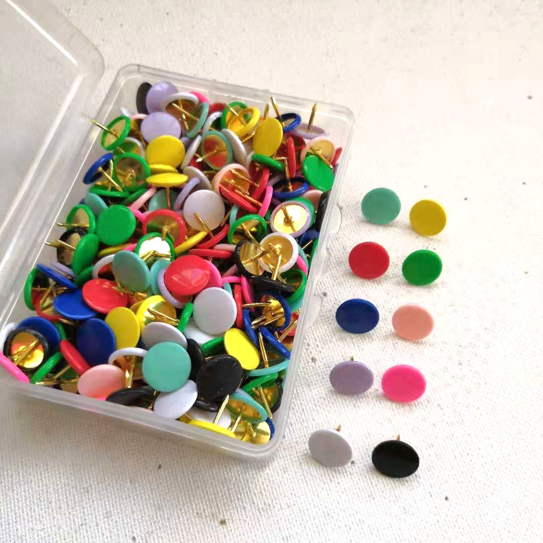 100pcs Multi-Coloured Translucent Assorted Push Pins Drawing Cork Board Office