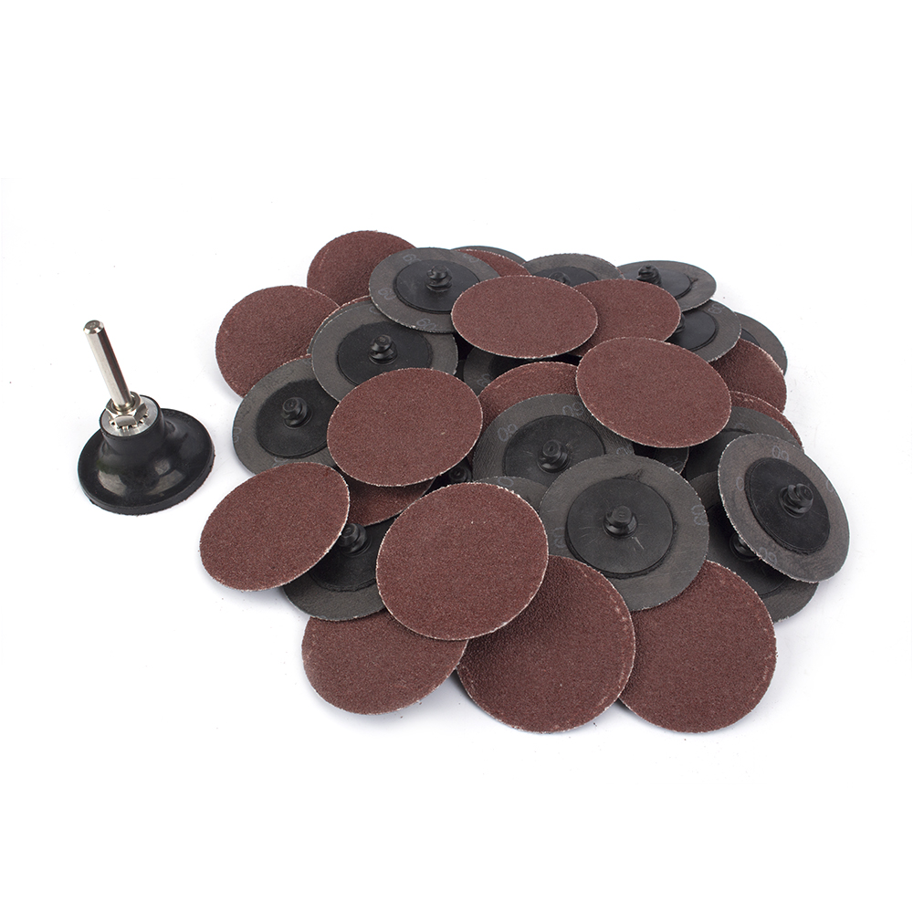 50 Pack 3 inch Quick Change Roll On//Off 36 Grit Locking Aluminum Oxide Discs