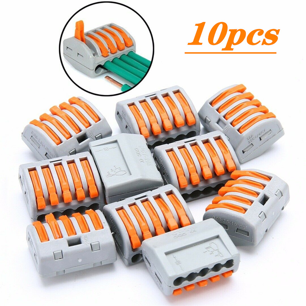 20x PCT-213 3 Port Wire Connectors Compact Spring Connector Terminal Block Kit Reusable for Electrical Conductor Terminal Block Wire 9-10mm Compact Connector