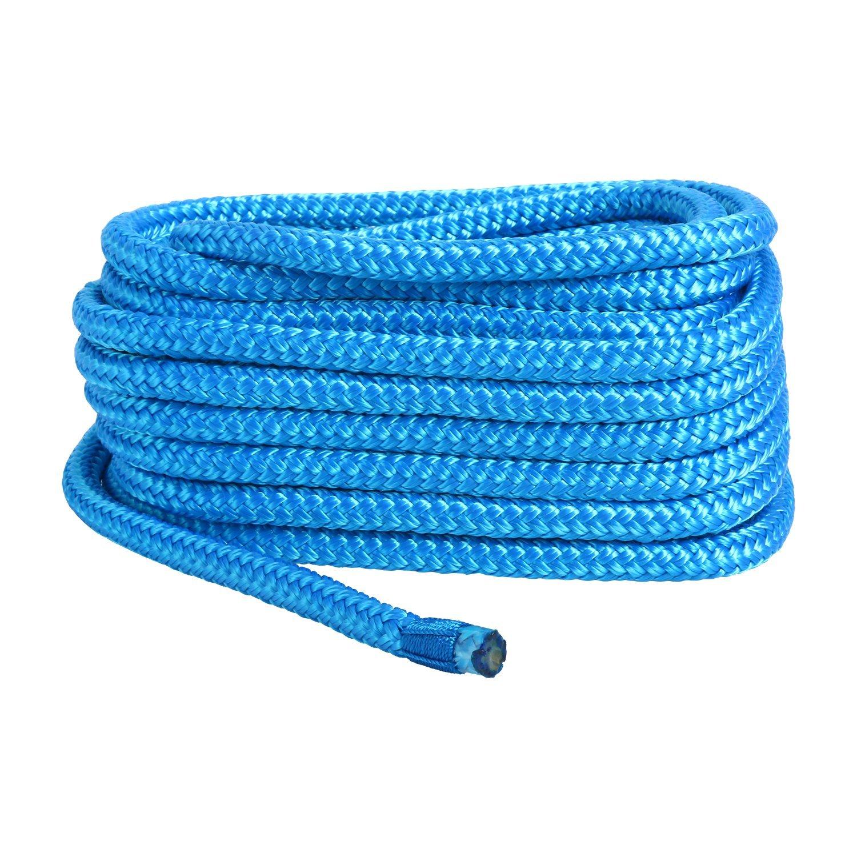 Blue 3//8 Inch 20 FT Double Braid Nylon Dockline Dock Line Mooring Rope AM