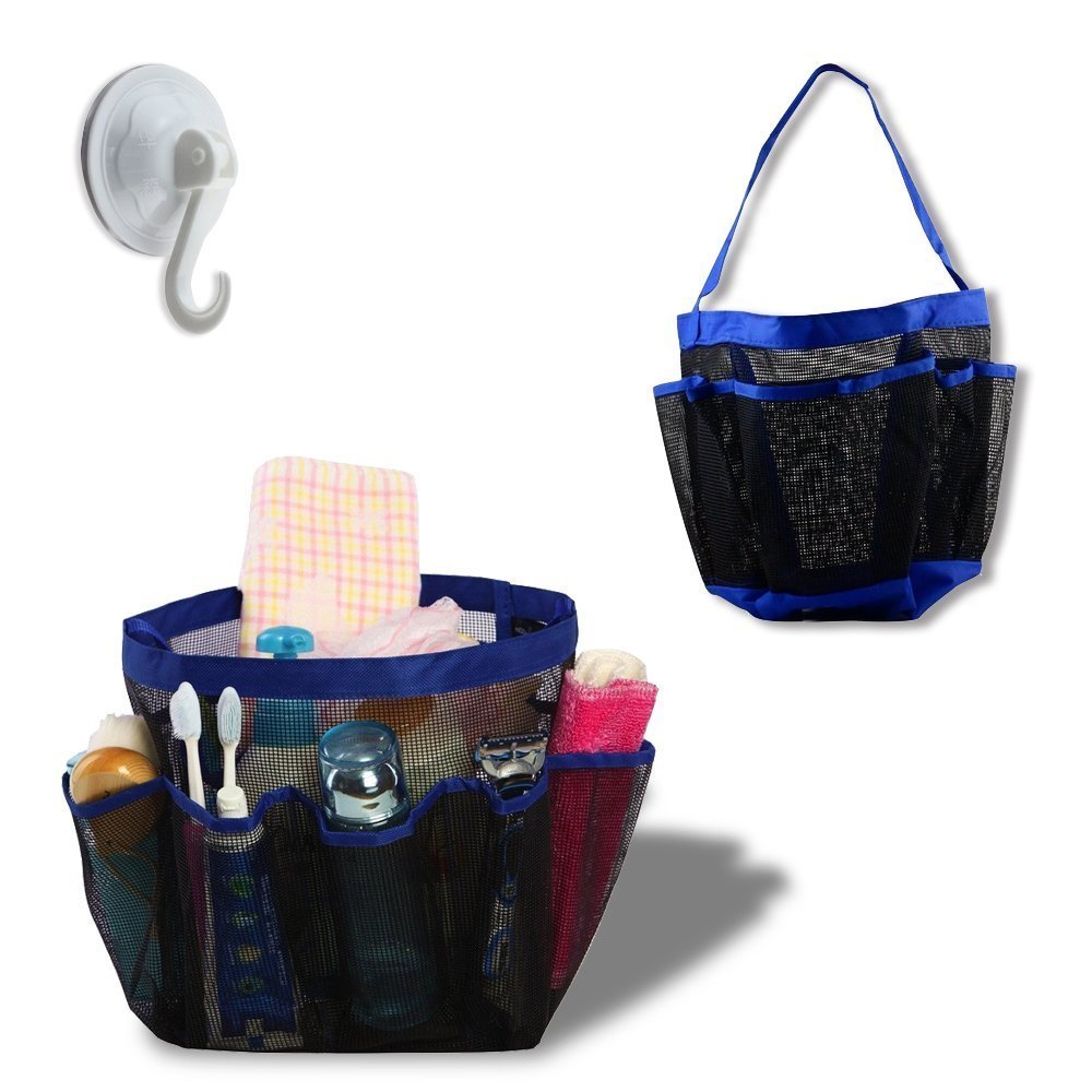 Portable Collapsible with 9 Pocket Shower Bath Organizer Mesh Shower ...