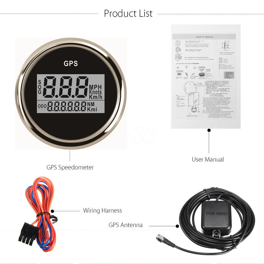 Universal Car Suv Boat 52mm Gps Digital 0 999 Knots Speedometer Wiring Harness Gauge Waterproof
