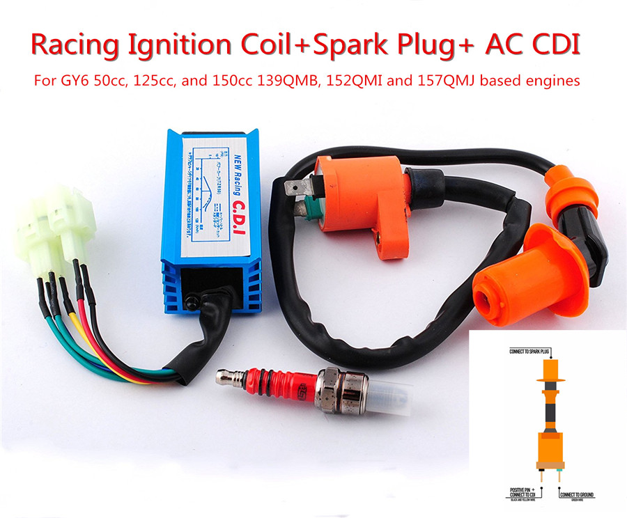 CDI Box Ignition Coil Spark Plug GY6 Scooter Part Engine 50cc 125cc Pit Bike ATV