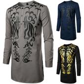 Men's Traditional African Luxury Metallic Gold Printed Dashiki Long Sleeve Shirt